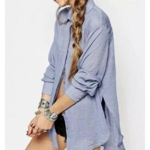 Free People Thats A Wrap Shirt Blue Medium Top
